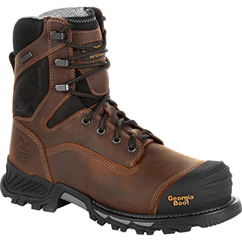Georgia Boot Rumbler 8inch Composite Toe Waterproof Work Boot Size 10(W) Black and Brown