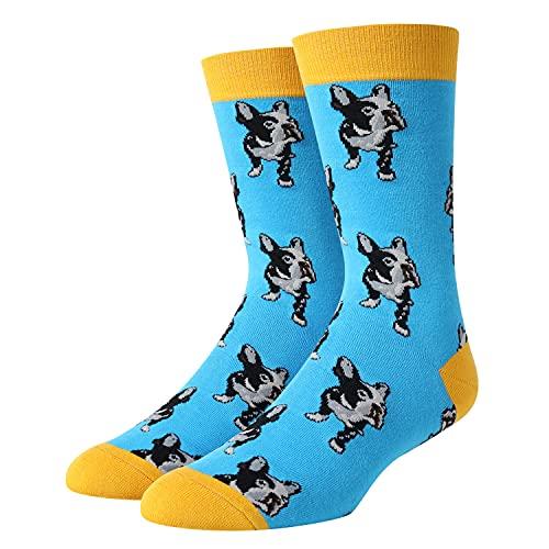 SOCKFUN Men Boy French Bulldog Dog Socks Novelty Funny Crazy Animal Lovers Gift