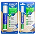 Grout Pen Tile Paint Marker: Waterproof Grout Colorant and Sealer Pen to Renew, Repair, and Refresh Tile Grout - Cleaner Coating Stain Pens - 2 Pack, 5mm Narrow and 15mm Wide Tip Pen - White