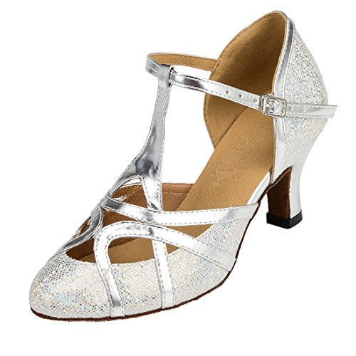 MGM-Joymod Damen T-Starp Geschlossene Zehenpartie Glitzer Synthetik Abend Hochzeit Tango Ballsaal Modern Lateinamerikanische Tanzschuhe, Silber - Glitzer Silber 6 cm Absatz - Größe: 35 EU