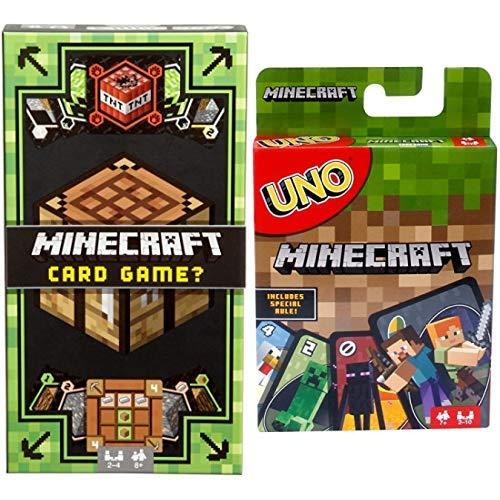 Mattel Games Minecraft Card Game AND UNO Minecraft Card Game