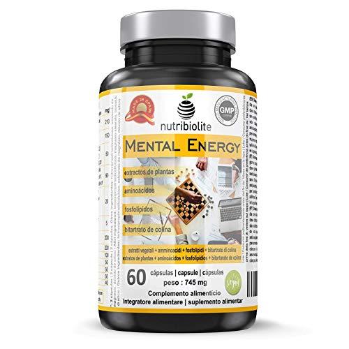 Mental Energy Nootrópico Natural Potenciador Cognitivo, Incrementa tu Concentración Memoria Creatividad y Motivación, Extractos de 6 Plantas + 5 Aminoácidos + Fosfolípidos + Vit B, Vegano Sin Gluten