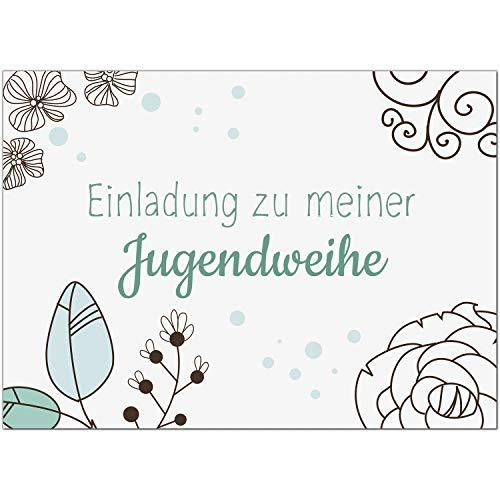 15 x Einladungskarten zur Jugendweihe mit Umschlag/Türkis florales Blumenmuster/Jugendweihekarten/Einladungen zur Feier