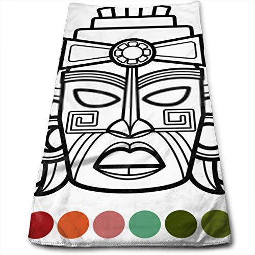 YudoHong Mexikanische afrikanische aztekische Maske Malvorlagen Super weiches hochsaugfähiges Handtuch für Badezimmer