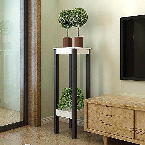 LLLXUHA Bois Massif Multi-Couche Type de Plancher Support de Fleurs, intérieur Salon Araignée Présentoir, Balcon Succulentes Bonsai Cadre, White and Black, 32 * 32 * 100cm