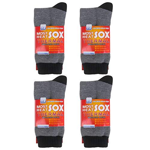 2 – 4 pares de meias térmicas para homens com isolamento térmico grosso e meias quentes para o inverno, Cinza, One Size