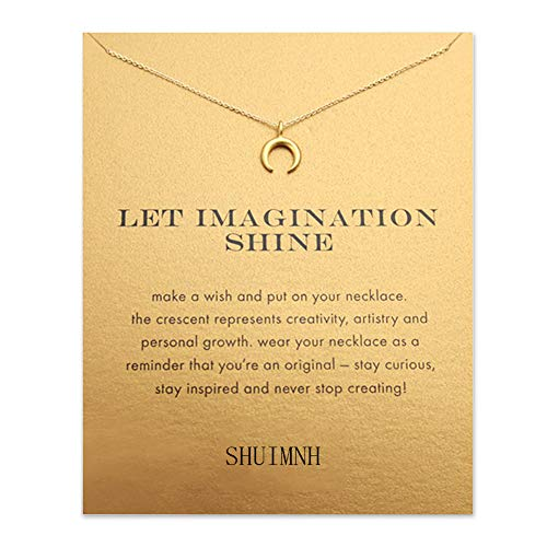 Brave Anchor Necklace Good Luck Friendship Compass Pendant Chain Y Necklace with Message Card Gift Card (Gold Horn)