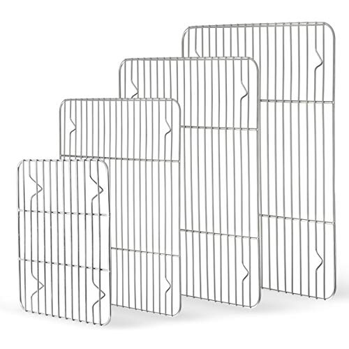 Cooling Rack Set of 4, HaWare 100% Stainless Steel Baking Thick Wire Rack for Roasting, Grilling, Drying, Fit Various Size Baking Tray &Toaster Oven, Heavy Duty & Dishwasher Safe