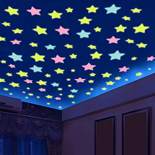 Stars Stickers for Ceiling, Adhesive 100pcs 3D Glowing Stars,Luminous Stars Stickers for Kids Bedroom Decor,Wall Stickers (Stars)