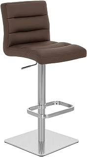 Zuri Furniture Brown Lush Square Base Adjustable Height Swivel Armless Bar Stool