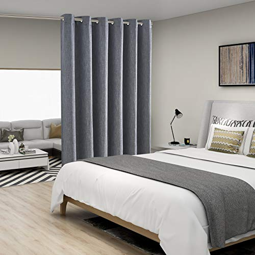 BONZER Linen Look Room Divider Curtain with Thermal Insulated Liner - Heavy Thick Grommet Textured Wide Blackout Curtains for Bedroom, Living Room, Sliding Door, 8.3ft Wide x 7ft Tall, Grey, 1 Panel