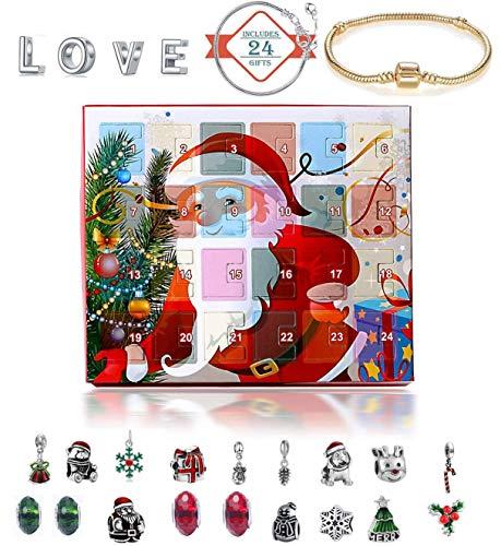 Calendarios de Adviento 2019 niños, la Belleza de la joyería de Cuenta Regresiva del Calendario 24 de la Pulsera del Collar de la Manera DIY para los Regalos de la Fiesta de Navidad,Santa