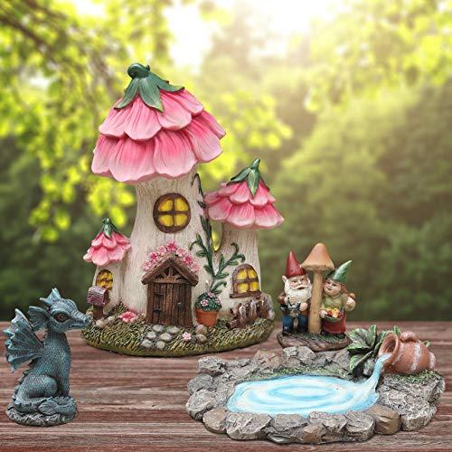 Fairy Garden Decor Gnome House Kit, Sculptures Statues Dragon Elf Figurines Fountain Yard Decor Lawn...