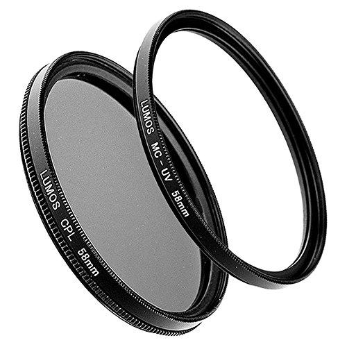 LUMOS 58mm Polfilter zirkular + MC UV-Filter | Zubehör Set für Canon Kamera Objektiv mit Ø58 Gewinde | Filterset Glas - Metallfassung 58 mm