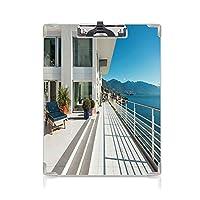 クリップボード A4 白い装飾 かわいい画板 ペントハウスの夏の家 A4 タテ型 クリップファイル ワードパッド ファイルバインダー 携帯便利広いパティオバルコニーベランダ 海の景色