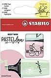 Evidenziatore - STABILO BOSS MINI Pastellove - Confezione da 3 - Carta da Zucchero/Rosa Antico/Verde Menta