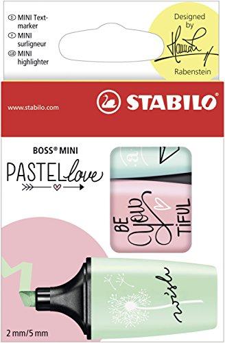 Marcador pastel STABILO BOSS mini – Edición Pastel Love – Estuche con 3 colores