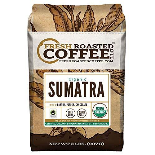 Fresh Roasted Coffee LLC, Organic Sumatran Coffee, USDA Organic, Fair Trade, Medium Roast, Whole Bean, 2 Pound Bag