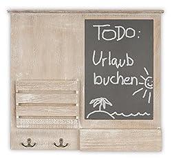 levandeo Memoboard B x H x T: 52x47x6cm Holz Braun Briefablage 4 Haken Shabby Chic Vintage Tafel Landhausstil