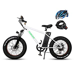 nakto 20″ 300W Fat Tire Electric Bicycles Snow Beach Bike Shimano 6 Speed Gear E-Bike with Removable Waterproof Large Capacity 36V10A Lithium Battery and Battery Charger