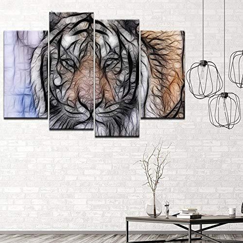 ANTAIBM® 4 Leinwandmalerei HD-Druck Holzrahmen - verschiedene Größen - verschiedene StileLeinwand Malerei abstrakte Kunst Tiger Bild 4 Stück Wandkunst Malerei Modulare Tapeten Poster Print Home Decor
