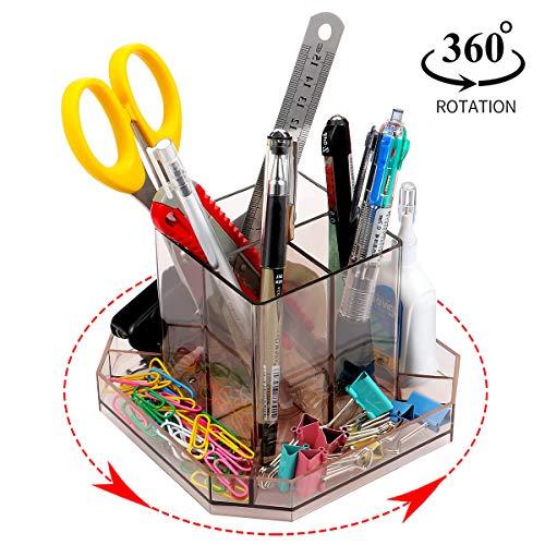 URbantin Rotating Acrylic Desk Organizer Caddy, Spinning Desk Sorter Pens Pencil Holder for Desk Tidy, Plastic Carousel Make Up Brush Storage (Brown)