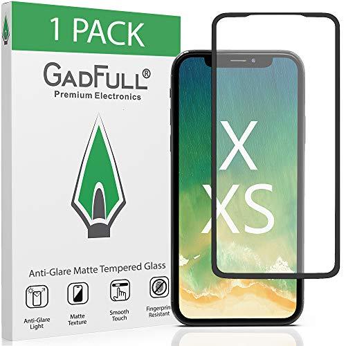GadFull Protector de Pantalla para iPhone X, XS de Vidrio Templado HD Mate Antirreflejos Antihuellas 2.5D con Cobertura Total
