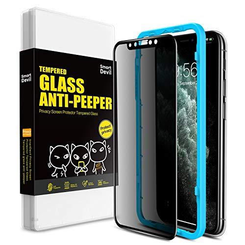 SmartDevil Anti-Spy Protector Pantalla de iPhone 11 Pro/iPhone XS/X,Cristal Templado,Vidrio Templado [Fácil de Instalar] [Anti-Peek] [Garantía de por Vida] para iPhone 11 Pro/iPhone XS/X