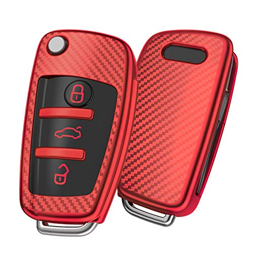 OATSBASF Funda Llave Audi, Carcasa Llave Audi A3 - Funda de Protección Carcasa Suave de TPU para Llaves Audi A1 TT A4 A6 Q3 Q5 Q7 S3 R8 (Rojo-Raya)
