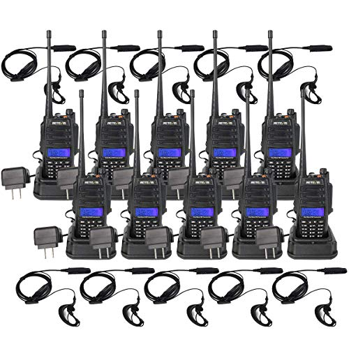 Retevis RT6 2 Way Radios Waterproof,Dual Band Two Way Radios Long Range,Emergency Adults Walkies Talkies with Headset 1800mAh Flashlight (10 Pack)