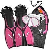 Promate Junior Mask Fins Snorkel Set for Kids, Pink, LXL