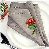 Linen & Cotton Set di 4 Tovaglioli in Stoffa con Orlo A Giorno Florence, 100% Lino - 43cm x 43cm (Beige/Naturale)