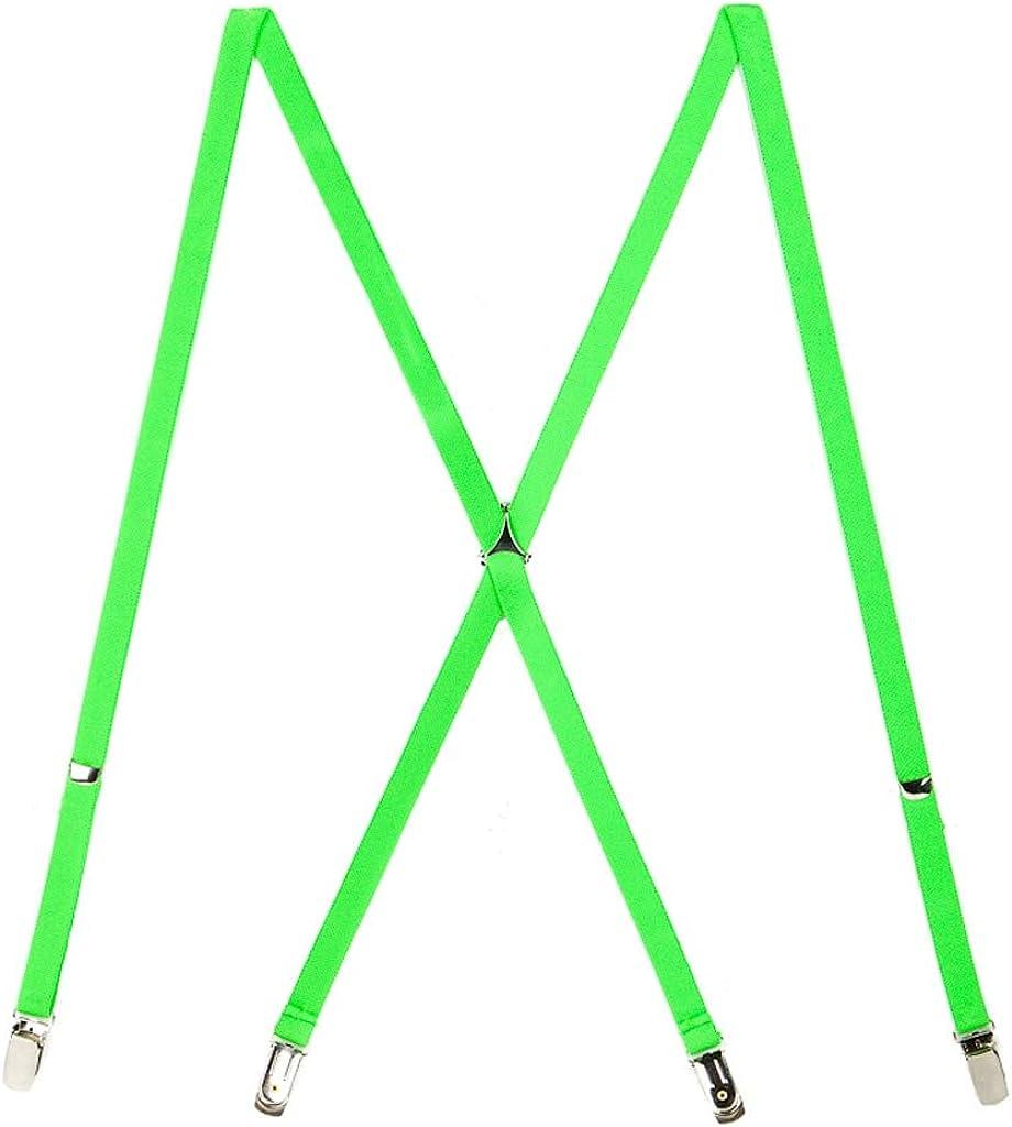 SuspenderStore Men's Neon Skinny Novelty Suspenders, Clip (3 Sizes, 7 Colors)