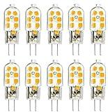 Paquete de 10 Bombillas LED G4, 3000K Blanco Cálido, 250 Lúmenes, 3W Equivalente a Bombillas Halógenas de 25W, AC / DC 12V, ángulo de 360 Grados, Lámparas LED G4, sin Parpadeo, No Regulable
