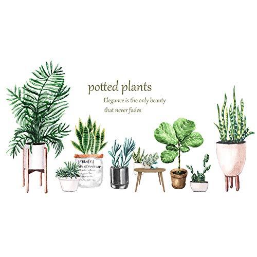 Adhesivos de pared de vinilo con hojas de cactus, extraíbles, para dormitorio, sala de estar, cuarto de guardería, dormitorio de los niños