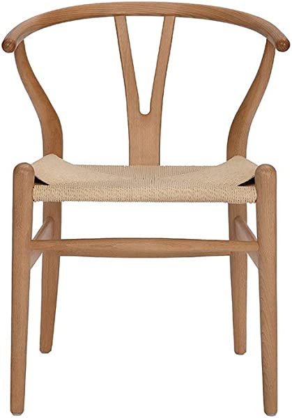 Tomile Wishbone Solid Dining Chairs Rattan Armchair Hans Wegner Beech Natural Wood Color