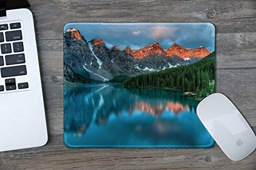 dealzEpic - Art Mousepad - Natural Rubber Mouse Pad Printed with Moraine Lake in Banff National Park, Alberta, Canada - Stitched Edges - 9.5x7.9 inches Photo #2