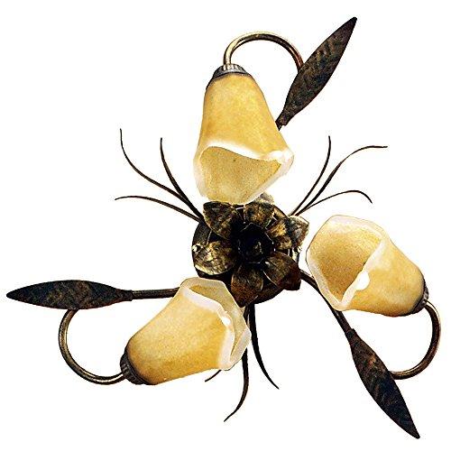 ONLI- Plafón de techo Alga 3 x E14. Metal Marrón spennelato dorado, tulipas de cristal mate con interior translúcido ámbar. Estilo clásico, tradicional. Para Camera de cama, salón, comedor