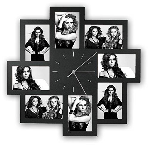 Zep Foto-Uhr Trieste schwarz für 8 Fotos 10x15cm, aus Kunststoff, zum Hängen