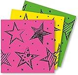 Folat Lot de 16 serviettes, néon pour anniversaire ou fête