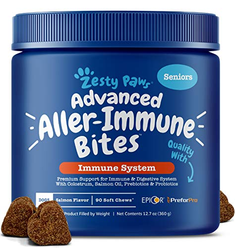 Zesty Paws Advanced Allergy Immune Supplement for Dogs - with Omega 3 Wild Alaskan Salmon Fish Oil, Quercetin & EpiCor + Digestive Prebiotics & Probiotics - Anti Itch & Hot Spots Allergies - 90 Count