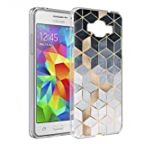 Yoedge Case for Samsung Galaxy J2 Prime, Samsung Galaxy Grand Prime+ Phone Case Transparent Clear with Pattern [Ultra Slim] Shockproof Soft Gel TPU Silicone Back Cover for Girl Women (Geometric)
