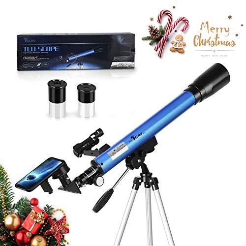 TELMU Télescope Astronomique - F60050M/5 Télescope réfracteur avec 45 ° Miroir Diagonale et Red Dot Observer, oculaire - H 12,5 mm et H 20 mm, Cadeau pour débutants et Enfants