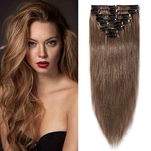 Clip in Extensions Echthaar Haarverlängerung Haarteil 8 teiliges SET günstig Remy Haar weich Hellbraun#6 14'(35cm)-60g