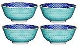 Kitchencraft Footed zig-zag/spotty-patterned cuencos, 15,5cm (6') (Set de 4), cerámica, azul/verde, 15,5x 15,5x 7,5cm