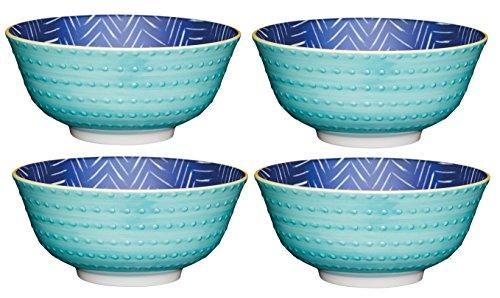 Kitchencraft à Pied Zig-zag/Spotty-Patterned Bols, 15.5 cm (15,2 cm) (Lot de 4), en CÉRAMIQUE, Bleu/Vert, 15.5 x 15.5 x 7.5 cm