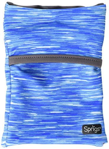 Sprigs Unisex Banjees 2 Pocket Wrist Wallet for Travel, Running, & Hiking, Blue Melange/Gray, One Size Fits Most