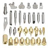 Pirograbado Kit Consejos de Soldadura 37pcs Bricolaje Completo de leña de la Pluma y de la Plantilla Surtido Hobby Craft Set, excelente artesanía