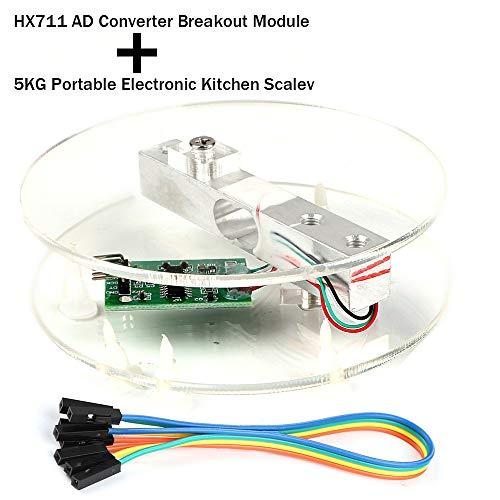 Innovateking-EU Digitaler Wägezelle Load Cell Gewichts Sensor HX711 AD Wandler Breakout Modul Tragbare elektronische Küchen Waage 5KG für Arduino Skala