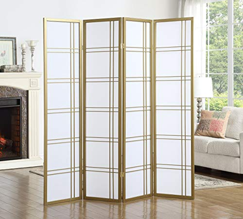 Roundhill Furniture Seto 4-Panel 4 Golden Room Divider Screen, Gold